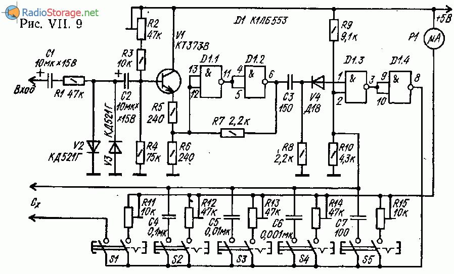 Стрелочный частотомер- измеритель емкости