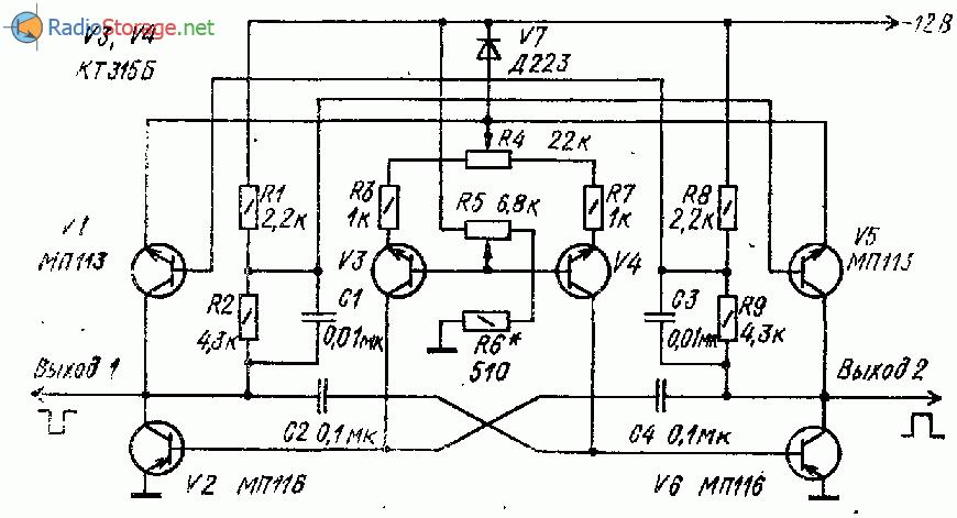 Перестраиваемый генератор прямоугольных импульсов