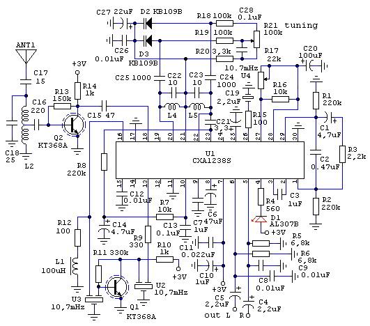 Стереоприемник FM (88…108Mhz) на CXA1238S