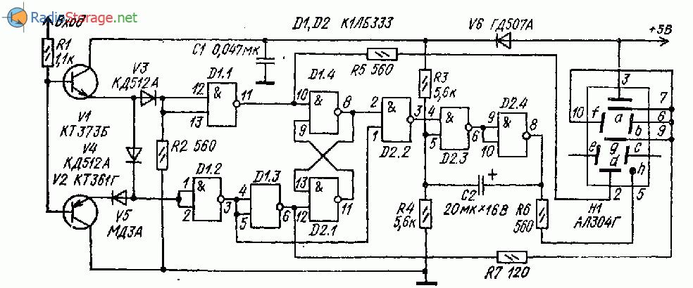 Логический пробник на двух микросхемах