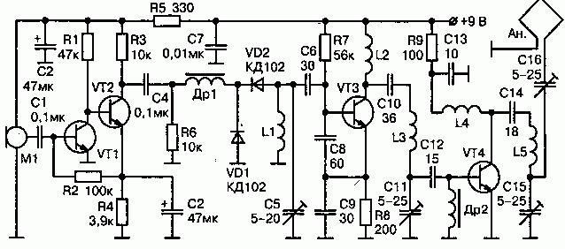 Радиопередатчик с компактной рамочной антенной